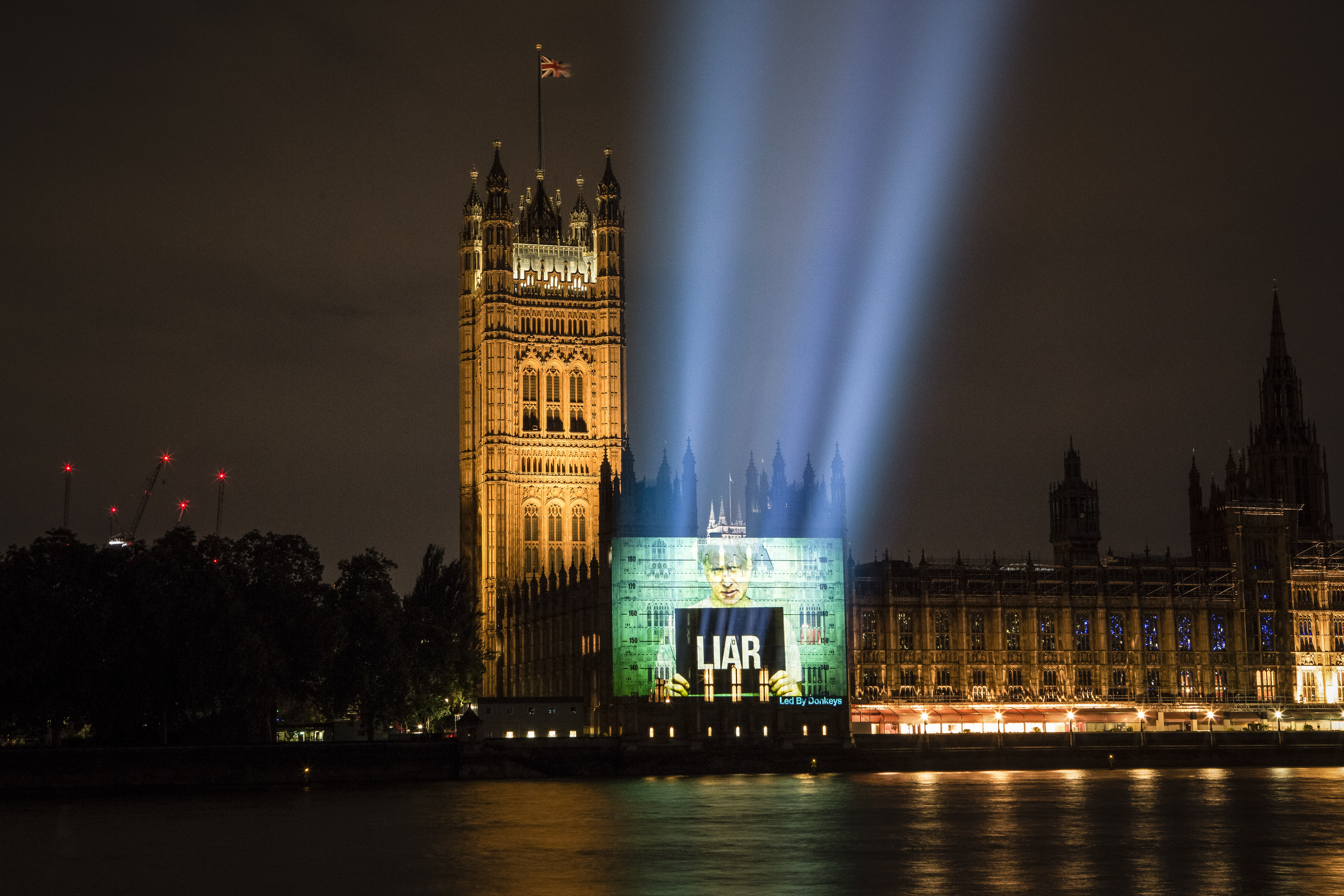 The projection on the side of Parliament