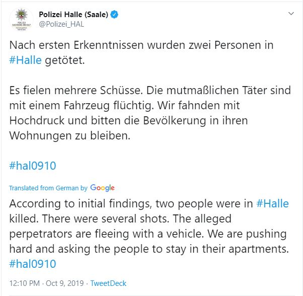 Two killed in attack outside a synagouge in Germany`s Halle