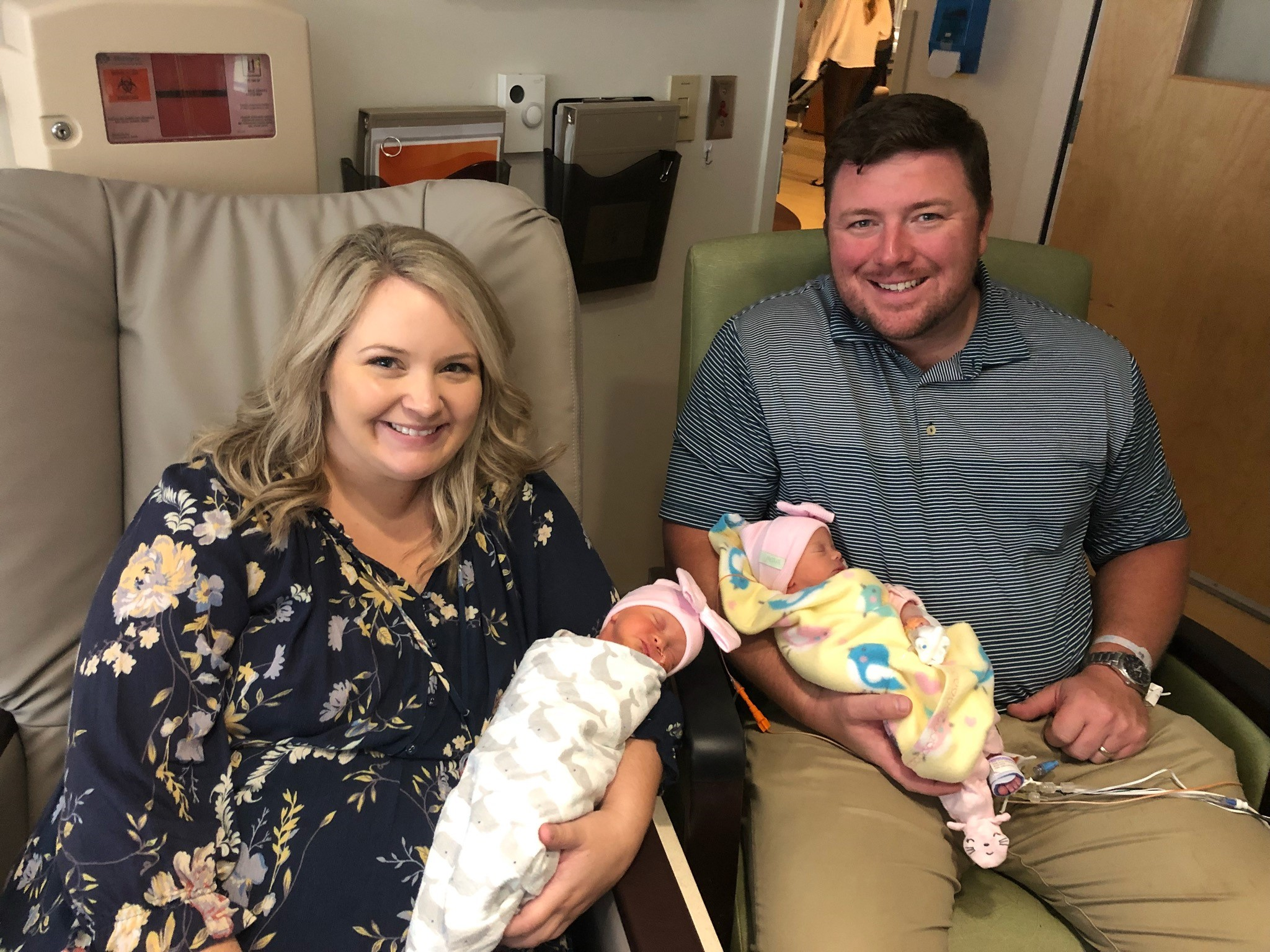 Rebecca and Brannan Williams with their twin daughters