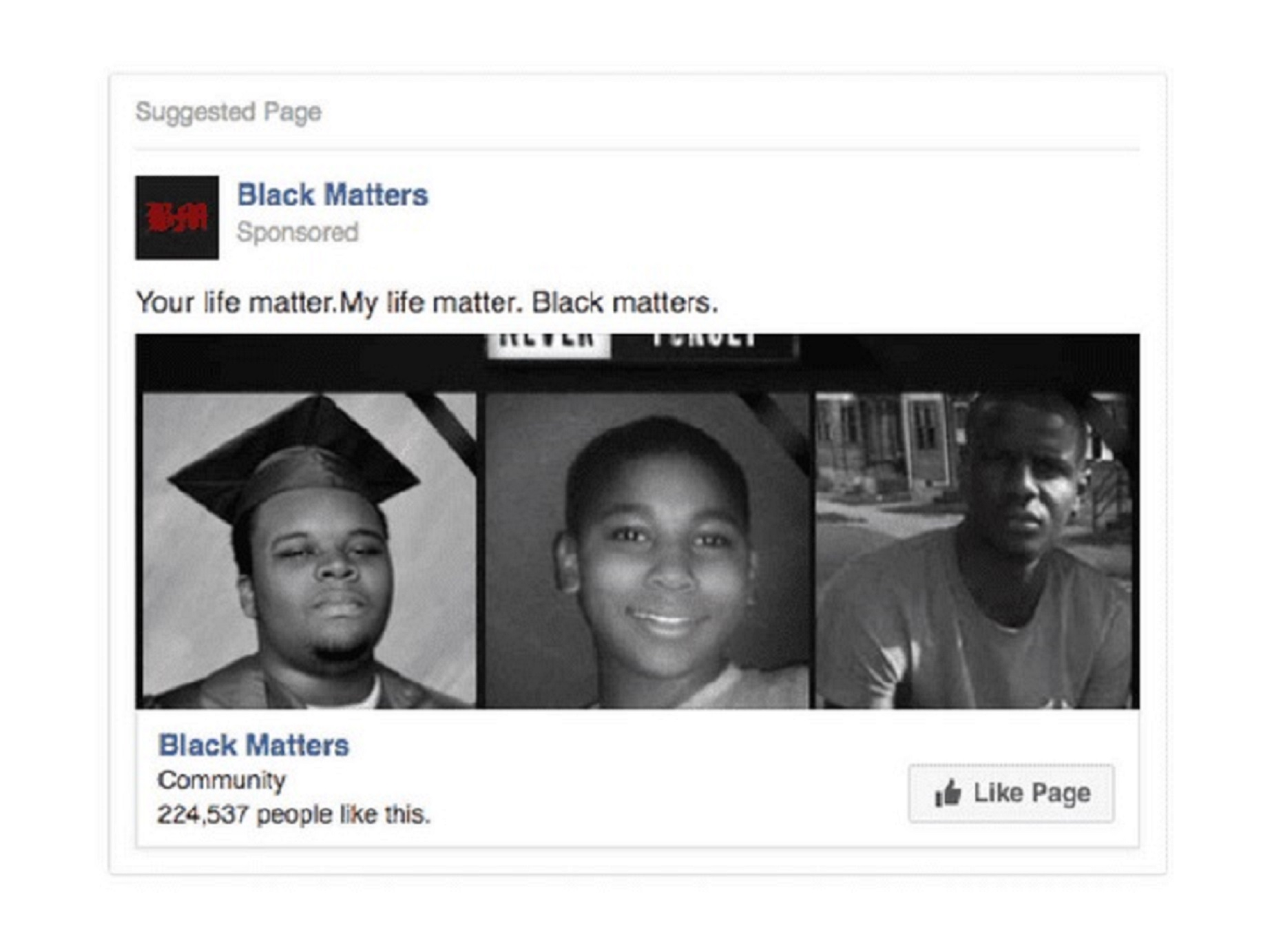 A mock black rights group (Facebook/US Congress)