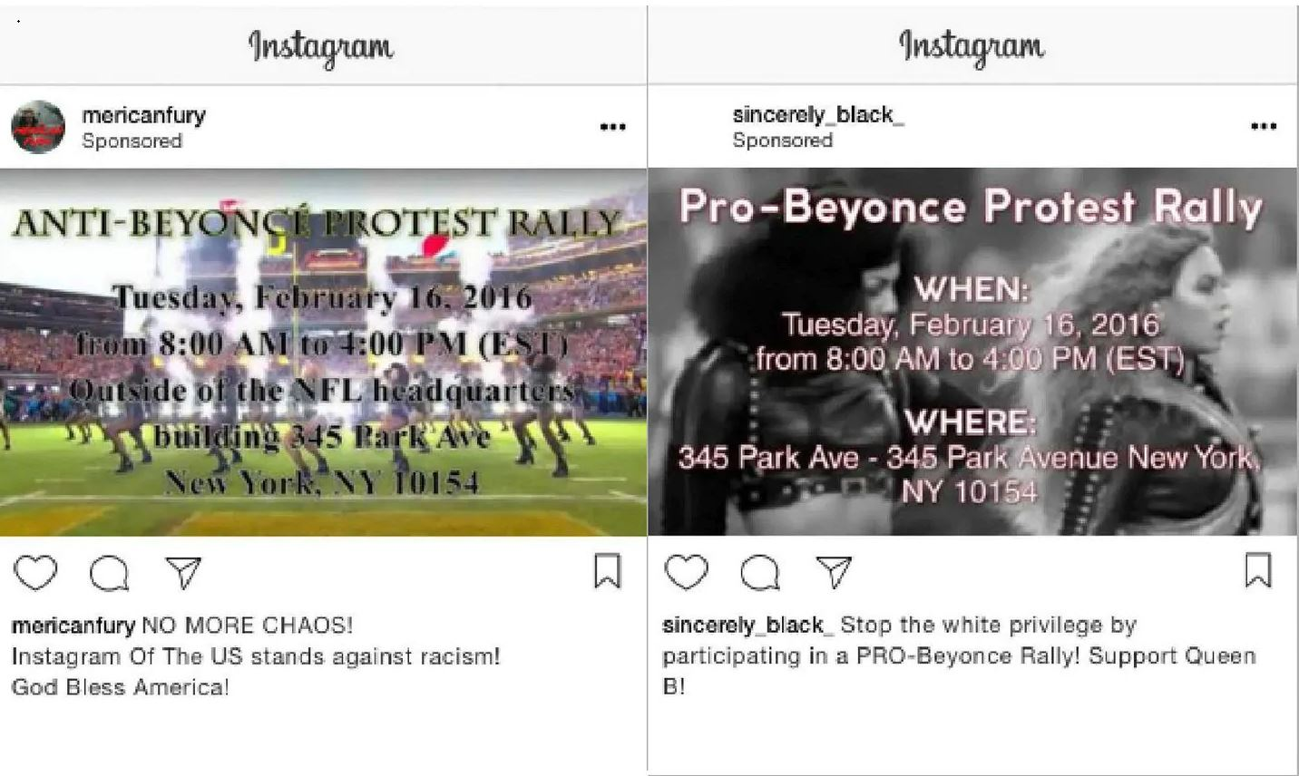 Pro- and anti- Beyonce adverts posted to Instagram (Instagram/US Congress)