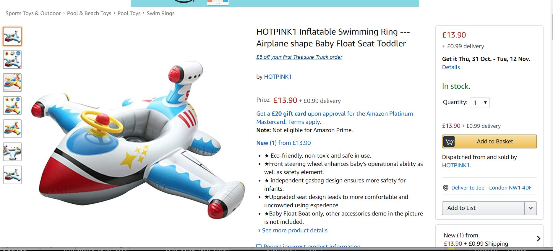 An inflatable swim ring for sale on Amazon flagged by Which? (Which?/PA)