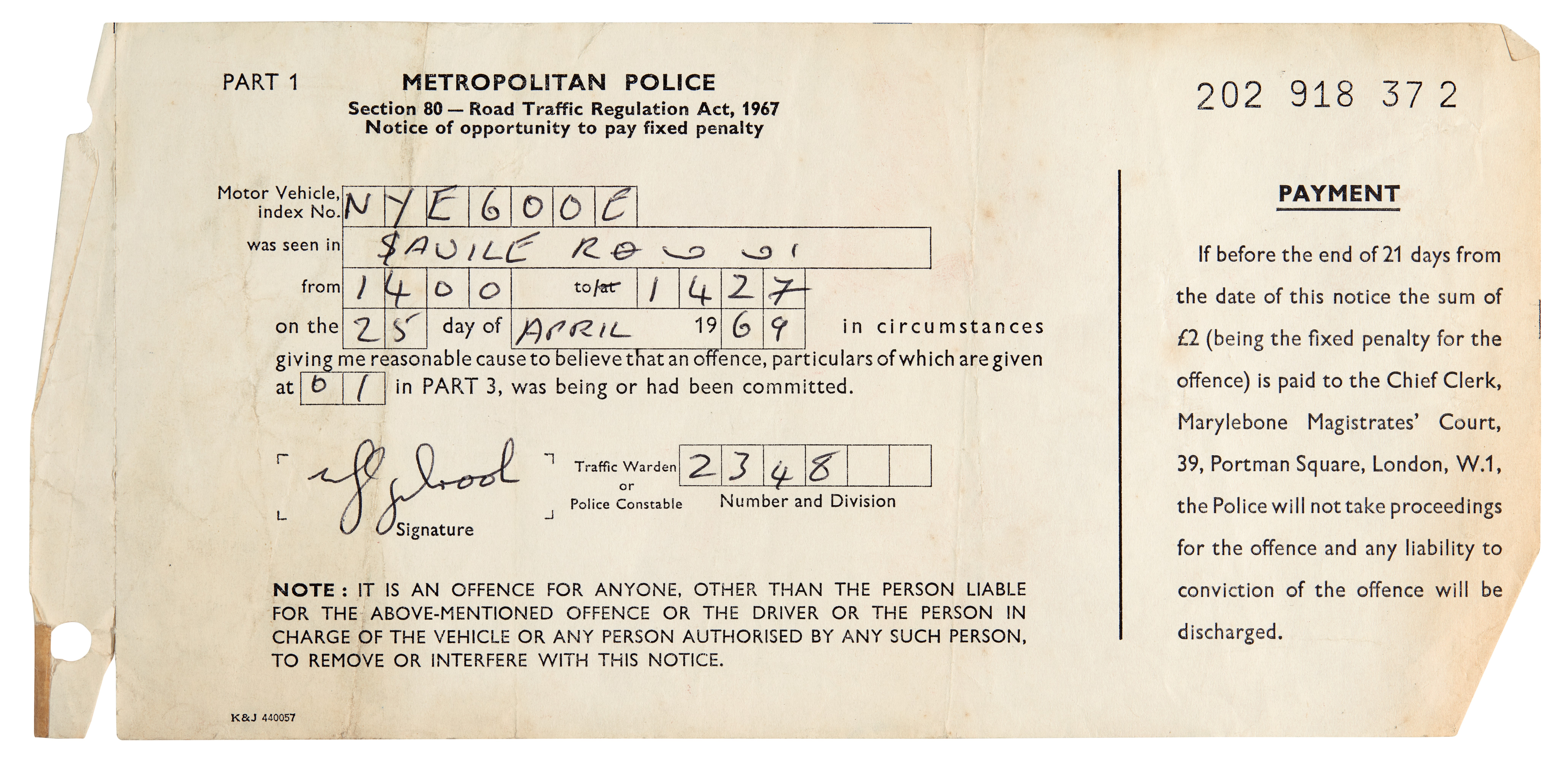A parking ticket issued to Ringo Starr
