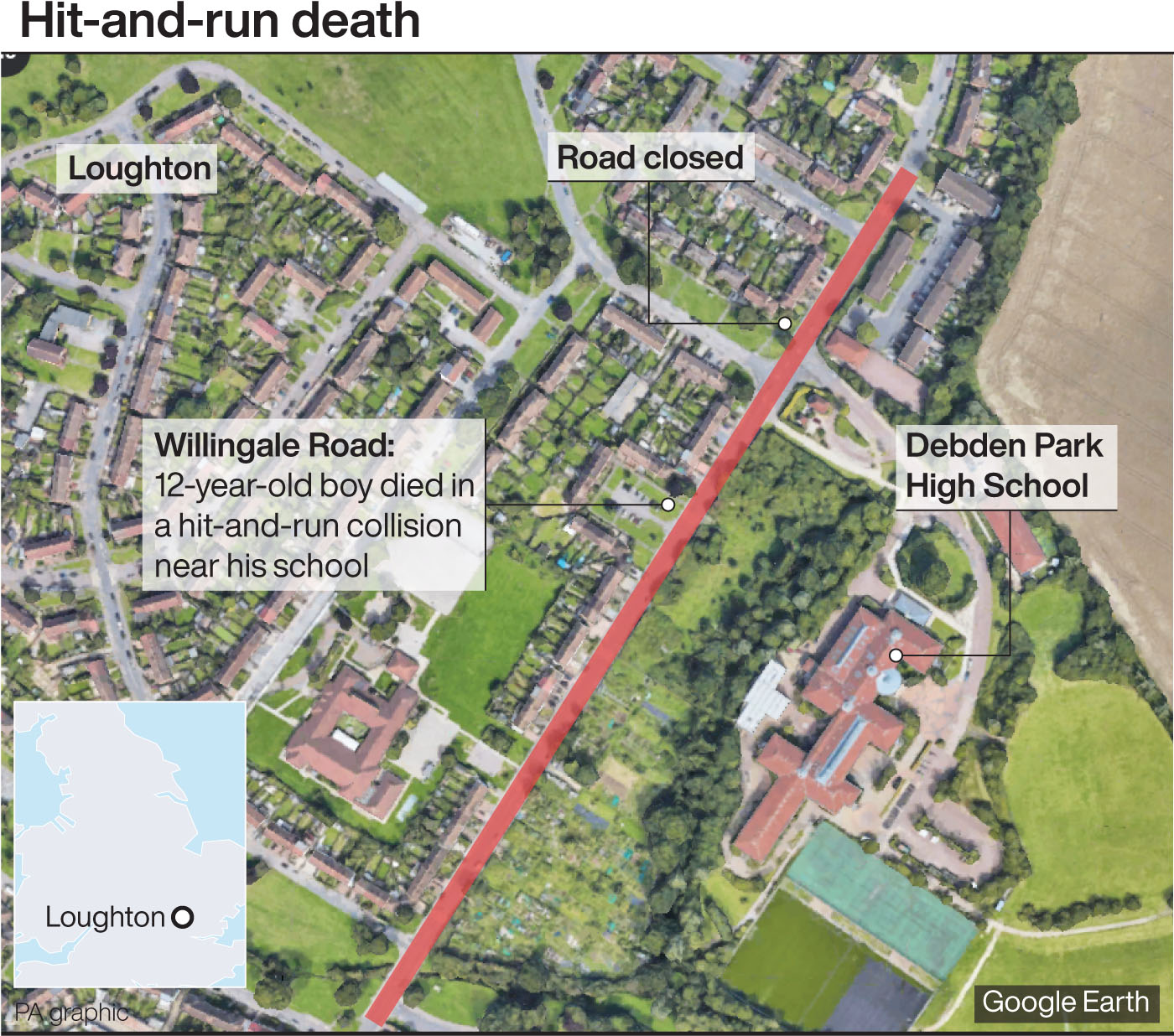 Graphic locates Debden Park High School in Loughton