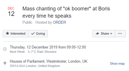 """okay boomer"" Facebook event"
