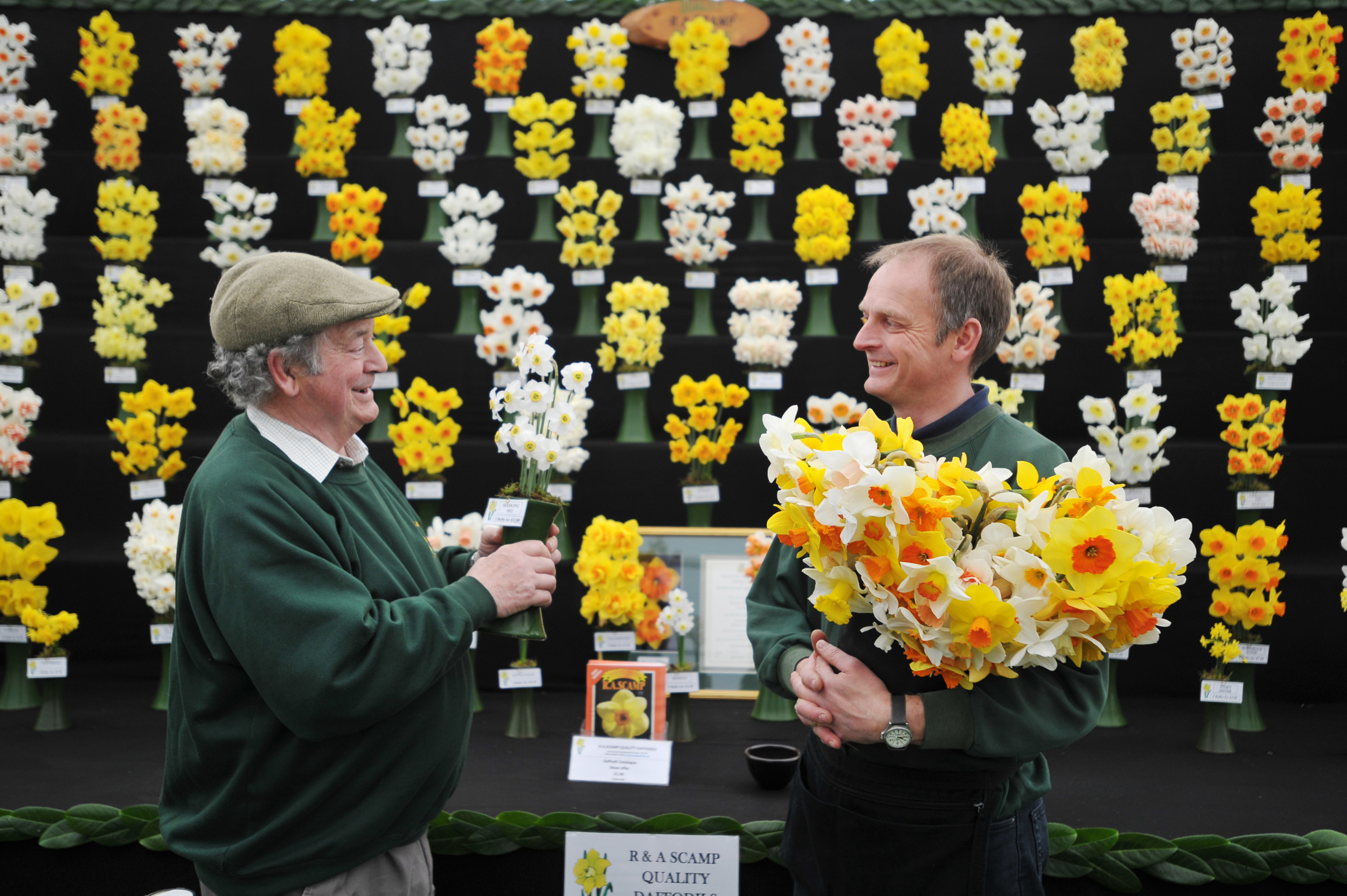 Ron Scamp (left) and his son Adrian with their daffodils at the RHS Flower Show Cardiff (Bethany Clarke/RHS/PA)