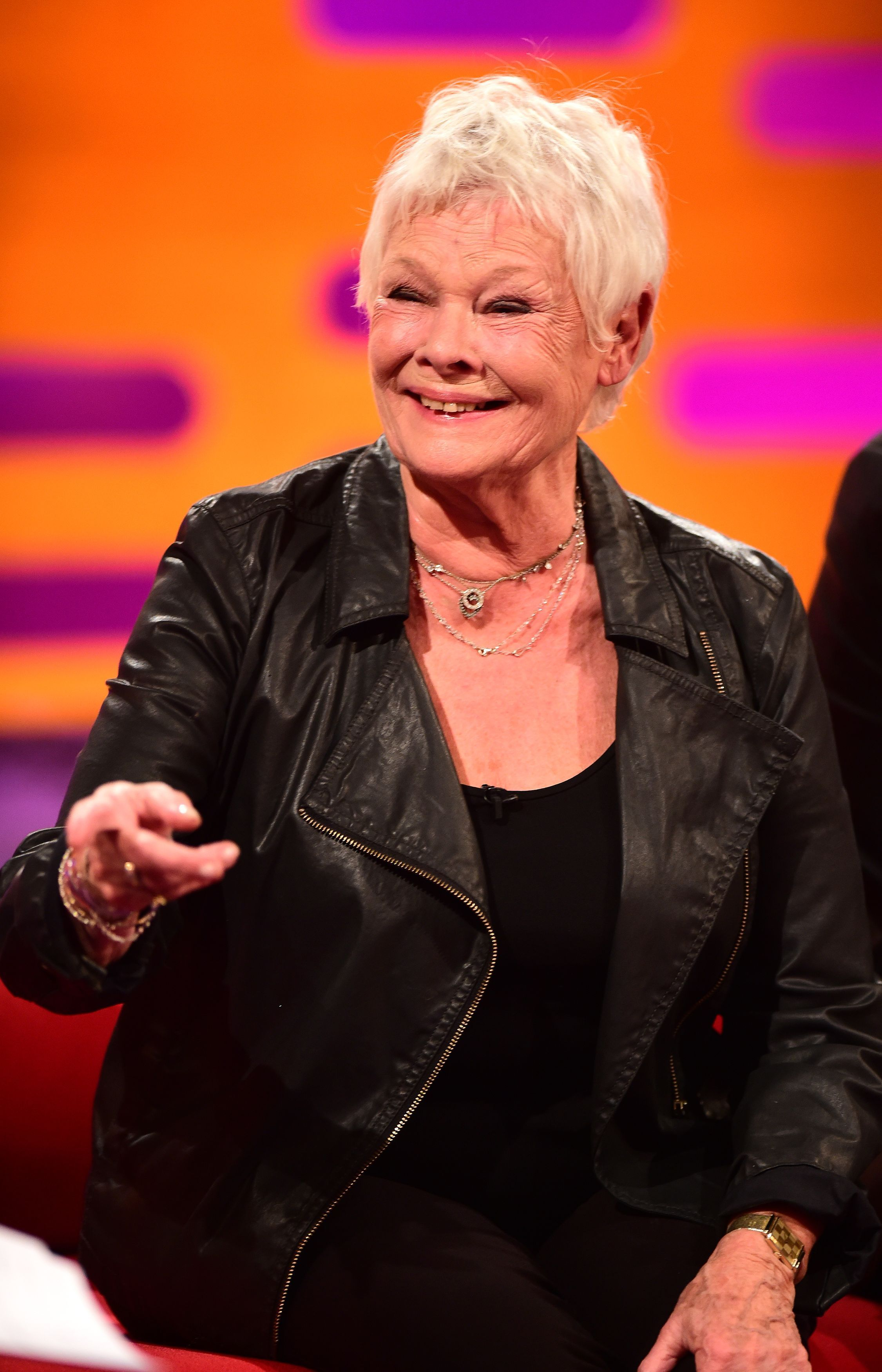Dame Judi Dench during filming for The Graham Norton show at the London Studios, London.