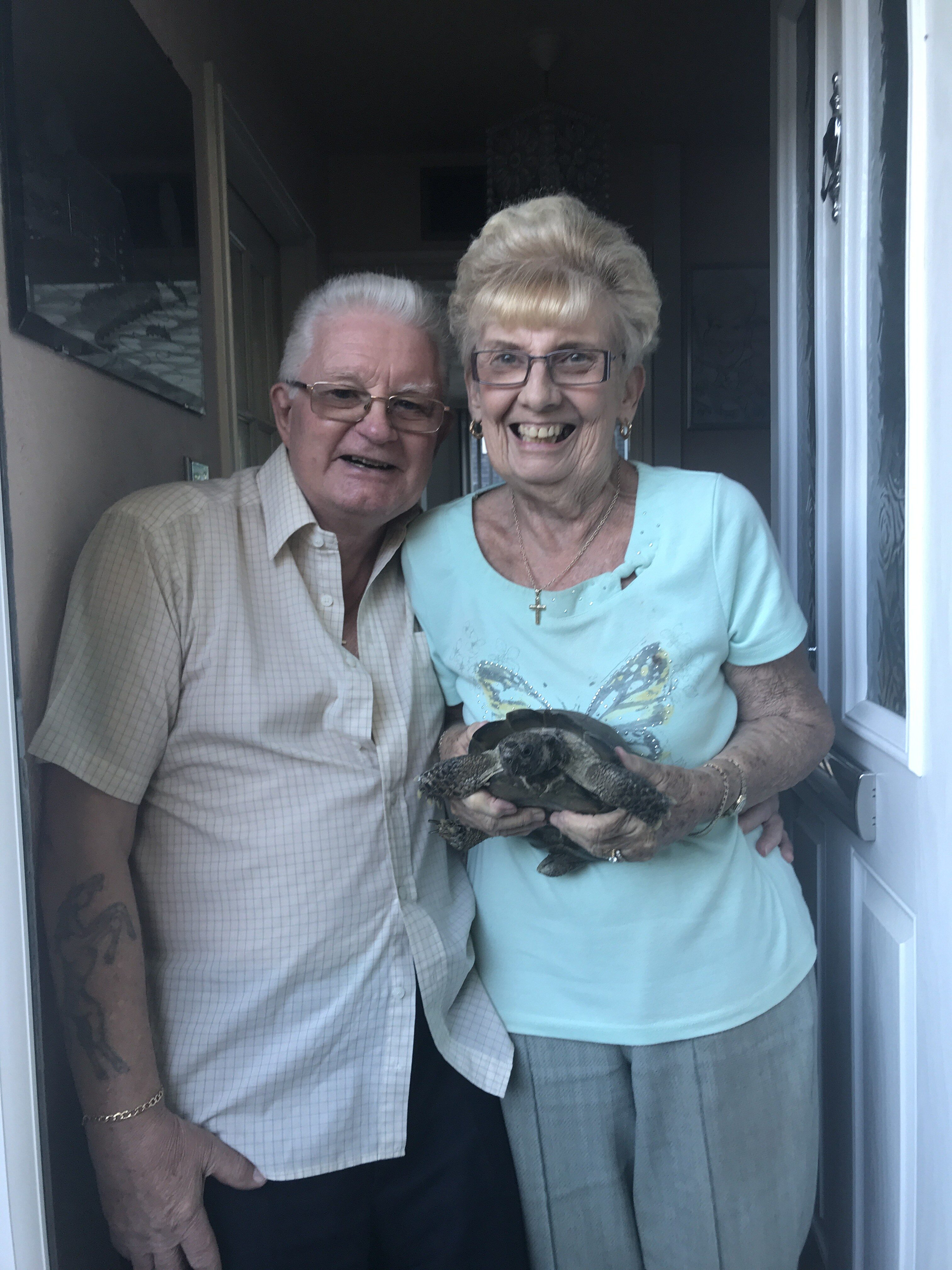 David and Sylvia Clouder with their tortoise, Tommy