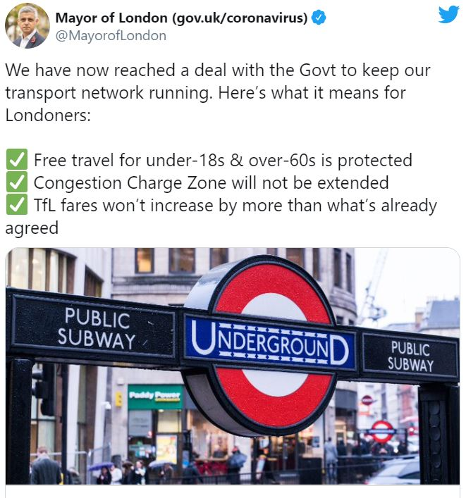 Transport for London strikes £1.8bn bailout deal with Government