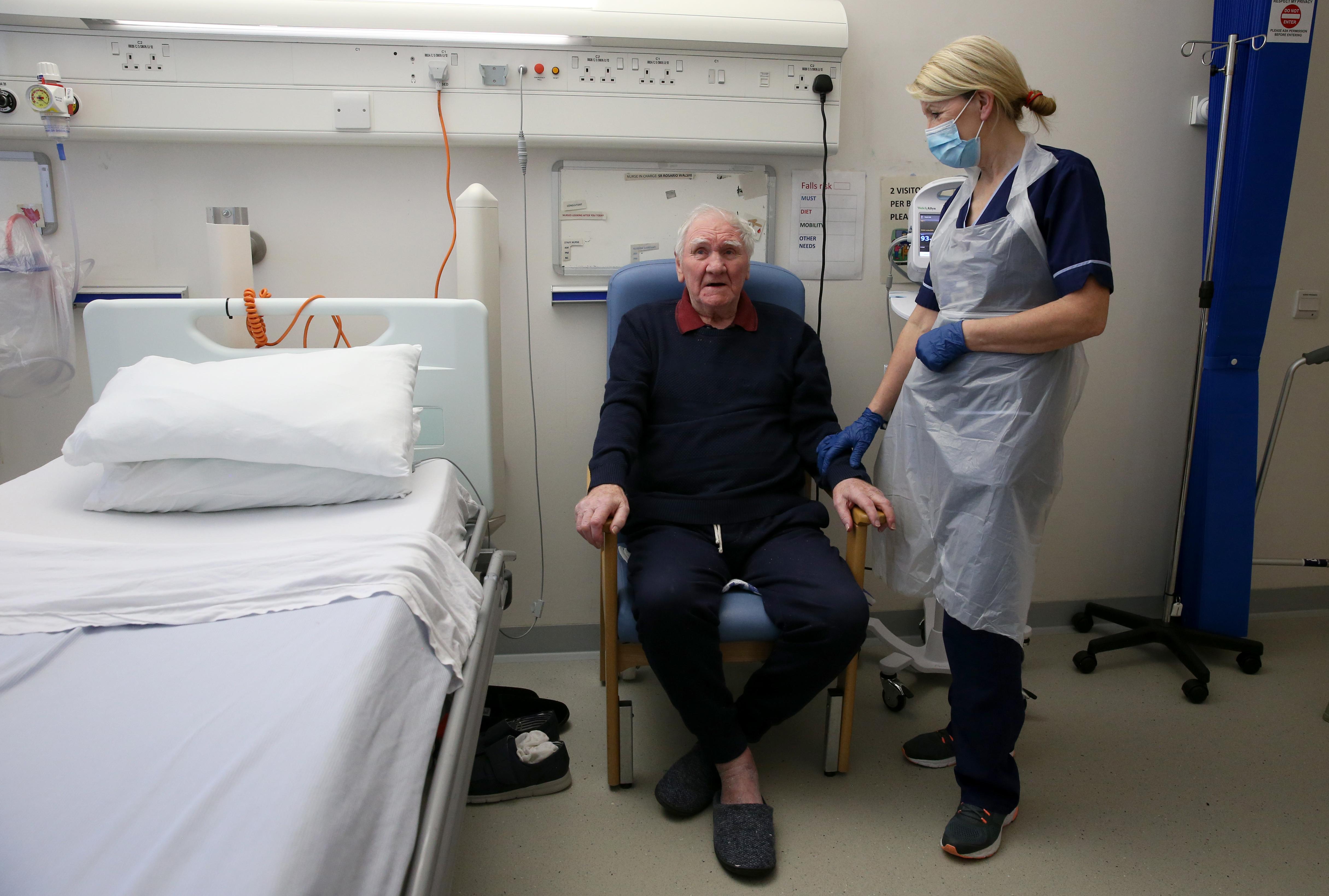 Jim Tierney with nurse