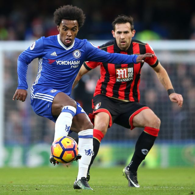 Willian was pushed further forward to help Chelsea compensate for being without top scorer Diego Costa
