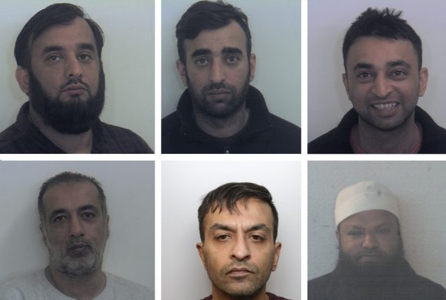 The six men, top row from left: Tayab Dad, Nasar Dad, Basharat Dad. Bottom row from left: Matloob Hussain, Mohammed Sadiq and Amjad Ali
