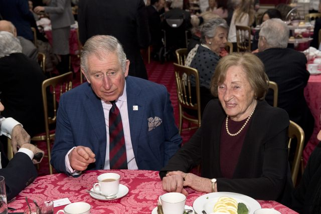 The Prince of Wales with Auschwitz survivor Susan Pollack (Justin Tallis/PA)