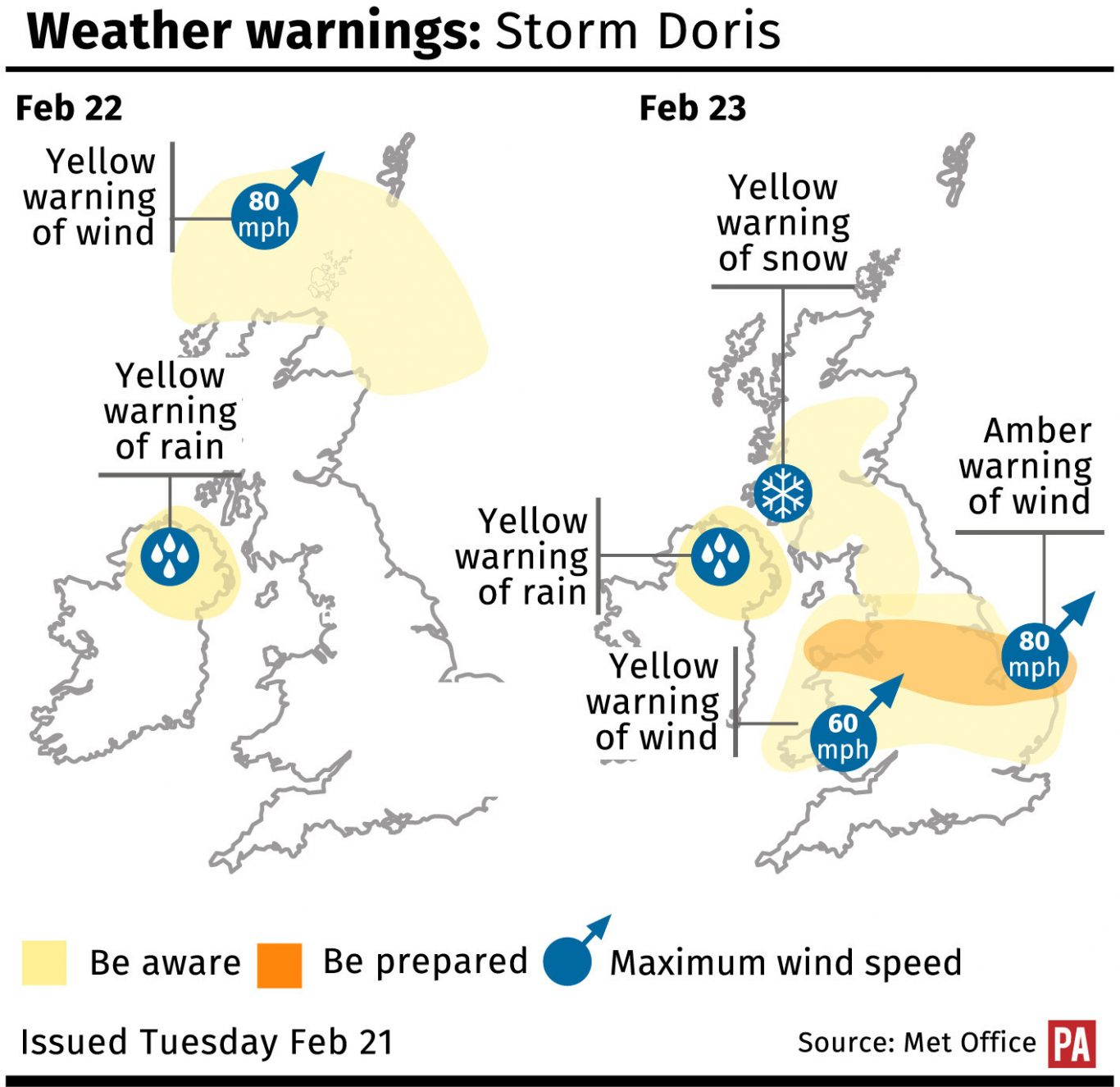 Yellow weather warning issued for North Somerset ahead of Storm Doris