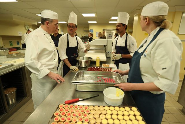 Chefs at Bickingham Palace  as they prepare food for a reception this evening to mark the launch of the UK-India Year of Culture 2017