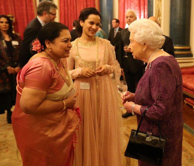 The Queen meets meets Sukanya Shankar (left) and Anoushka Shankar