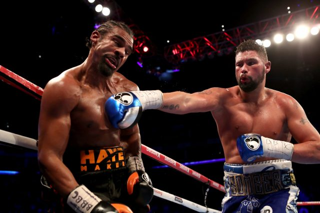 Tony Bellew, right, lands a punch on David Haye
