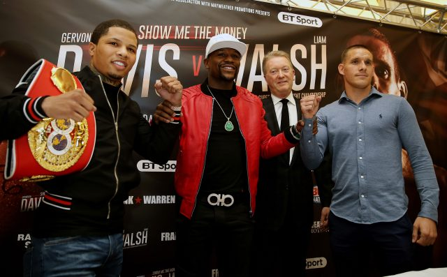 Gervonta Davis, Floyd Mayweather Jr, Frank Warren and Liam Walsh (Steven Paston/PA)