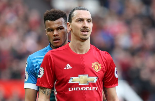 Tyrone Mings, left, and Manchester United's Zlatan Ibrahimovic