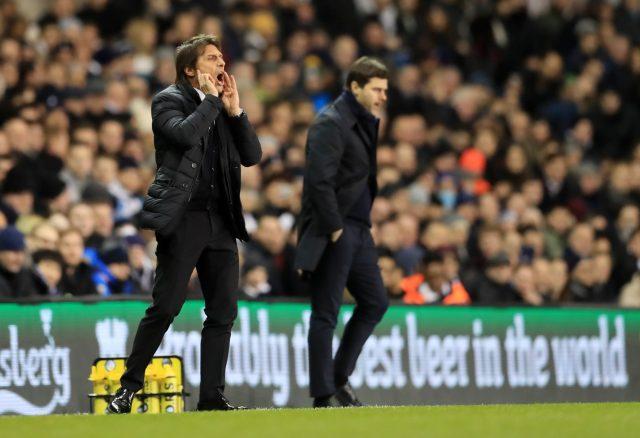 Antonio Conte, left, and Mauricio Pochettino on the touchline