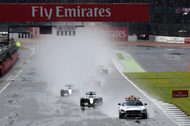 The race is started under a safety car during the 2016 British Grand Prix at Silverstone