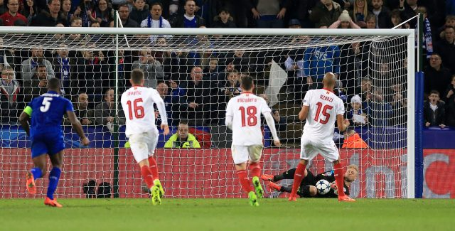 Kasper Schmeichel kept out Steven N'Zonzi's penalty (Nigel French/Empics)