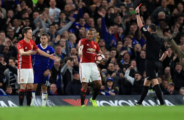 Ander Herrera's red card gave Manchester United an uphill struggle at Chelsea on Monday (Adam Davy/PA)