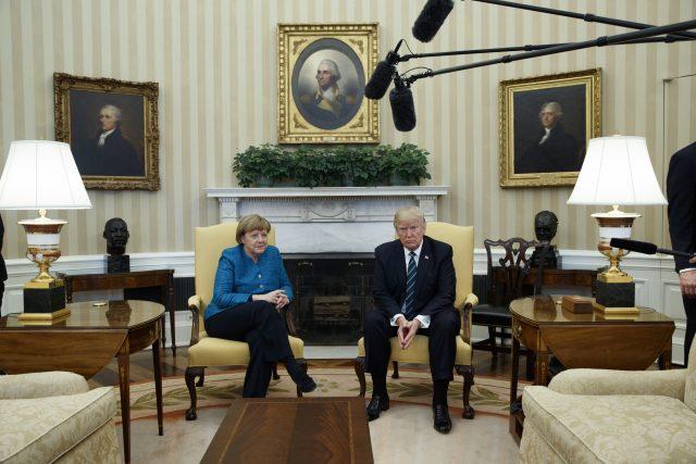 Mr Trump met with Angela Merkel in Washington (Evan Vucci/AP)