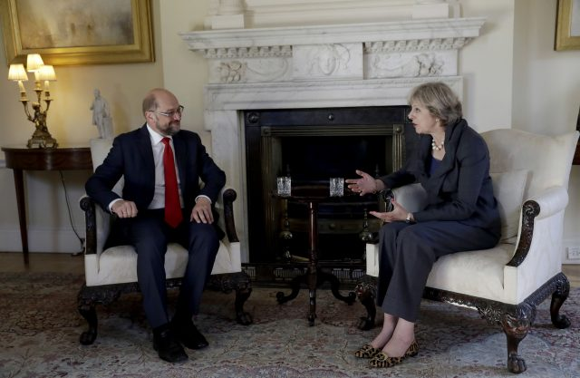 Mr Schulz met Theresa May last year (Matt Dunham/PA)