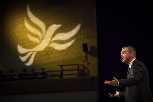 Leader of the Liberal Democrats Tim Farron during his keynote speech