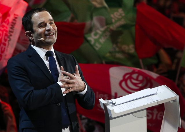 More than 20,000 people attended a rally in support of Socialist candidate Benoit Hamon in Paris