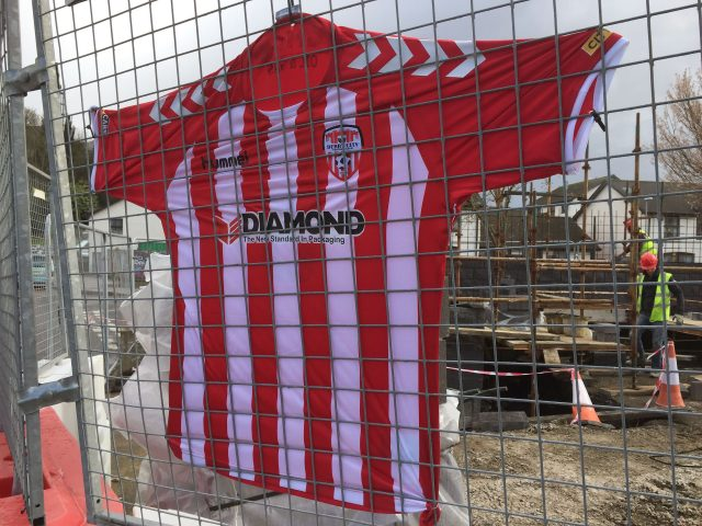 A Derry City shirt hangs outside the club's football ground in Brandywell in memory of Ryan McBride