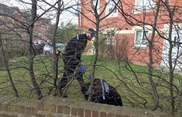 Police activity at an outside area of an address in Quayside, Winson Green, Birmingham
