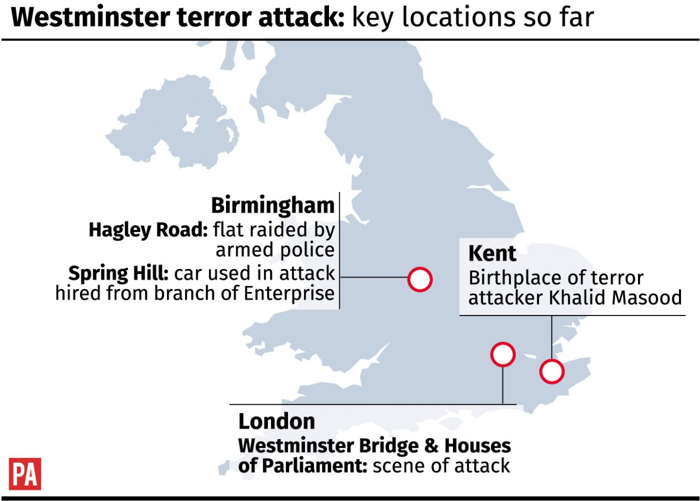 Westminster terror attack: key locations so far.