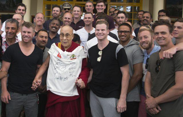 Australia's cricketers meet Dalai Lama ahead of India
