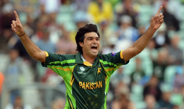 Pakistan's Mohammad Irfan celebrates taking the wicket of West Indies&#039 Darren Bravo during the ICC Champions Trophy match at The Oval London
