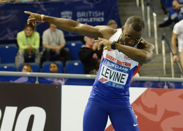 Nigel Levine celebrates his victory in the Men's 400m during day two of the Indoor British Championships at the English Institute of Sport, Sheffield.