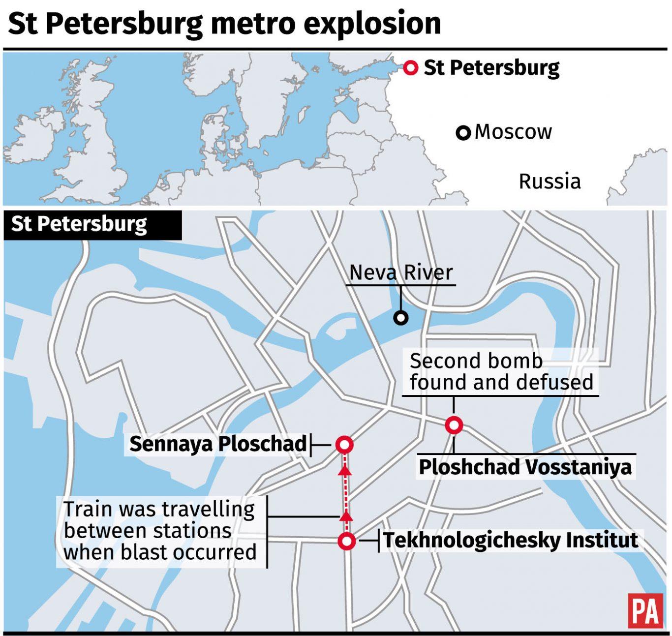 Saint Petersburg Russia Subway Map.11 Dead After Subway Bomb Blast In St Petersburg Oxford Mail