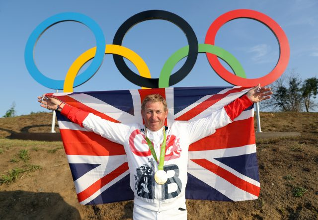 Great Britain's Nick Skelton with his Olympic gold medal in Rio (Owen Humphreys/PA)