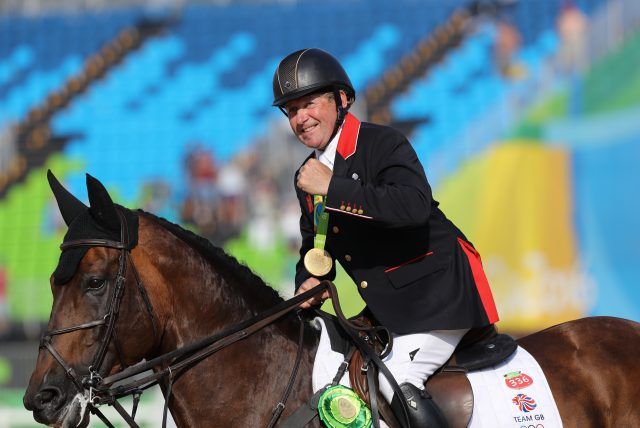 Nick Skelton and Big Star after winning Olympic gold (Owen Humphreys/PA)