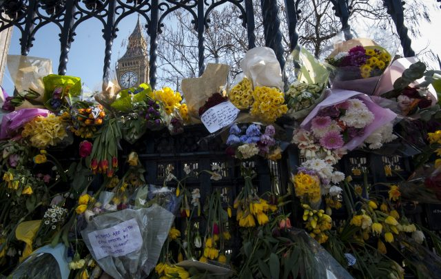 Floral tributes outside the Palace of Westminster