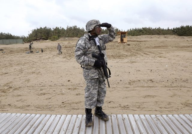 A US army soldier watches during the joint exercise operation in South Korea