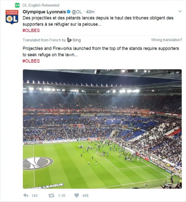Fan violence delays Lyon-Besiktas game in Europa League