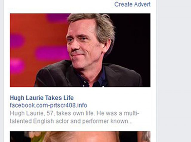 Screengrab from the Facebook home page of a hoax advert (Facebook/PA)