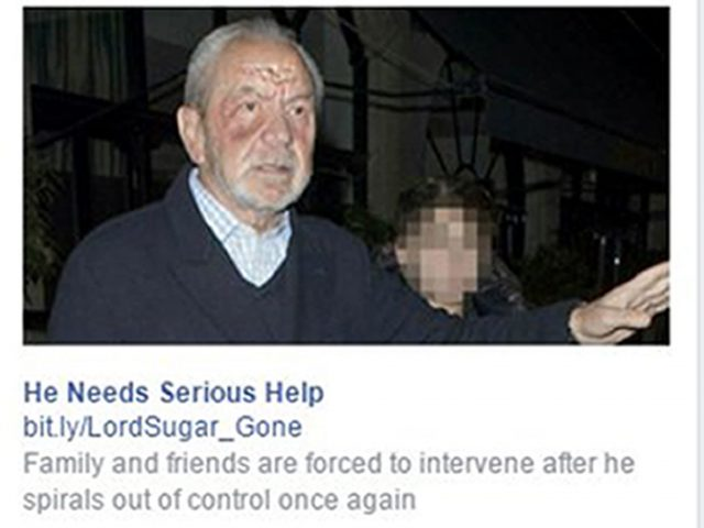 A screengrab of a fake promoted advert about Lord Sugar (Facebook/PA)