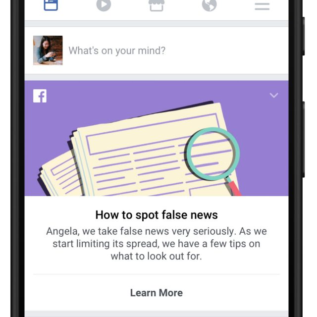 Facebook's new educational tool to help users spot fake news stories (Facebook/PA)