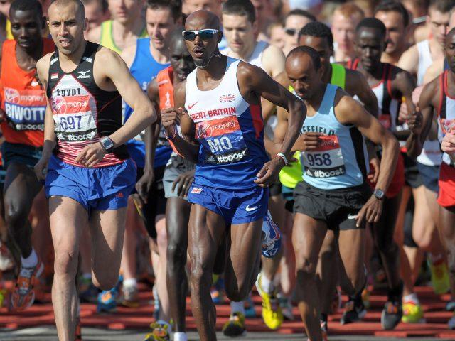 Mo Farah during the 2014 London Marathon (Tim Ireland/PA)