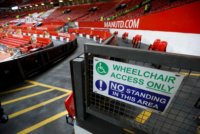 An area for disabled fans at Old Trafford