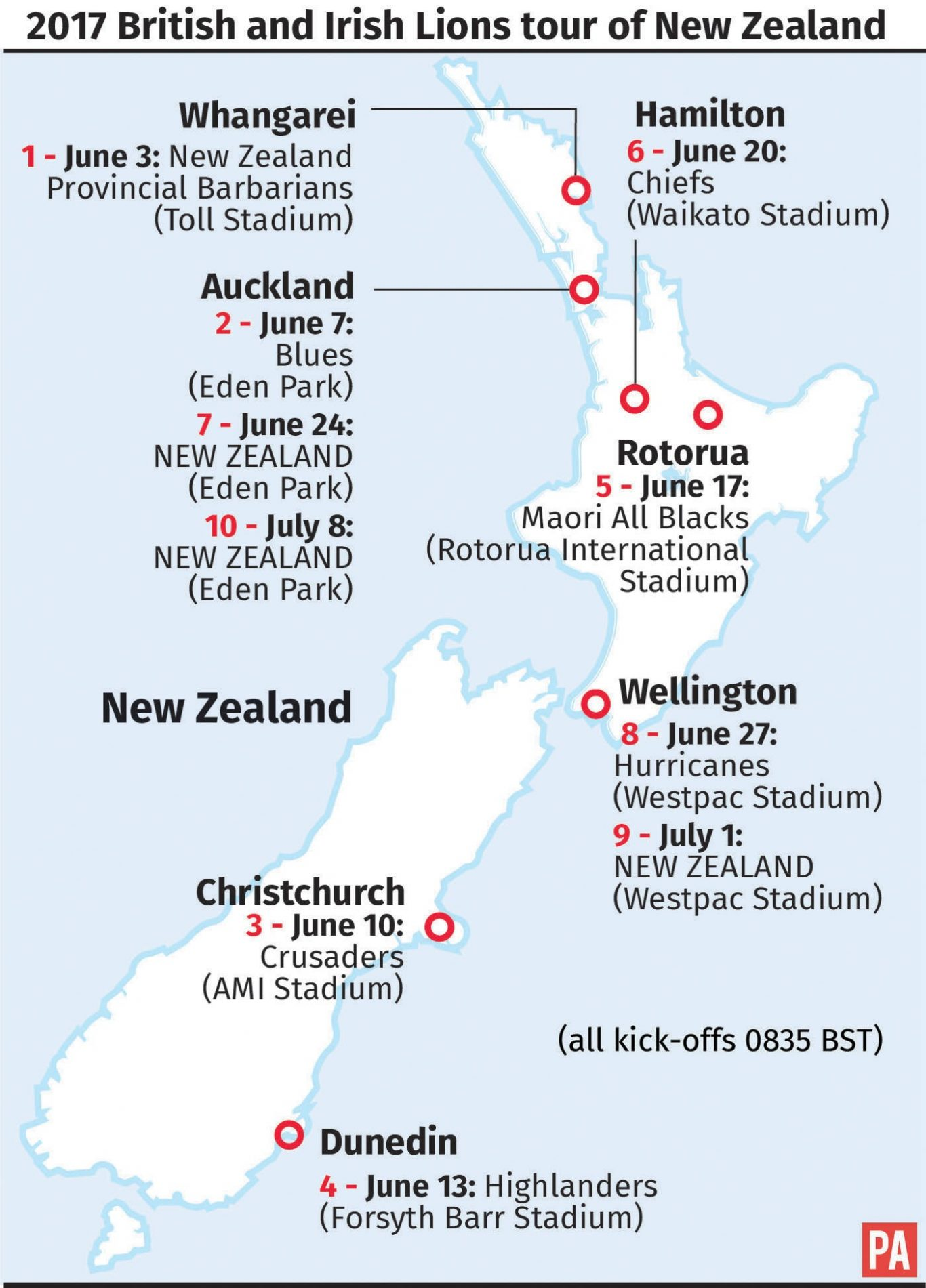 2017 British and Irish Lions tour of New Zealand. See story RUGBYU Lions Itinerary. Editable versions of this graphic are available via PA Graphics or your account manager
