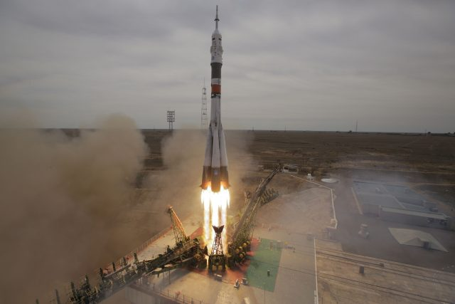The Soyuz-FG rocket booster with Soyuz MS-04 space ship carrying a new crew to the International Space Station, ISS, blasts off at the Russian leased Baikonur cosmodrome, Kazakhstan (Dmitri Lovetsky/AP)